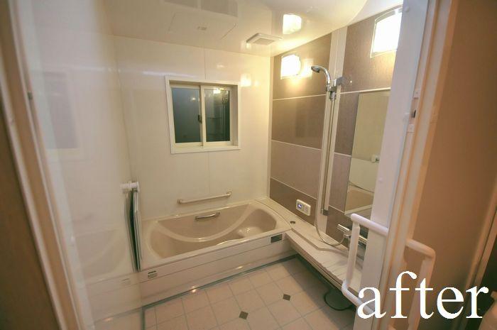 【リフォーム後 浴室】タカラスタンダード製 お掃除簡単、ホーロー浴槽。1.25坪(2.5畳)の広い浴室になりました。