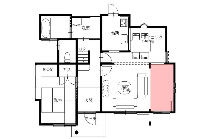 【リフォーム後 1階平面図】※増築部ピンク