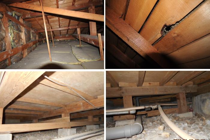 ご相談をうけて、お住まいの診断を行いました。基礎・土台はしっかりしておりましたが、床断熱がまったくはいっておりませんでした。屋根の防水紙が劣化し、ところどころ穴もあいておりました。