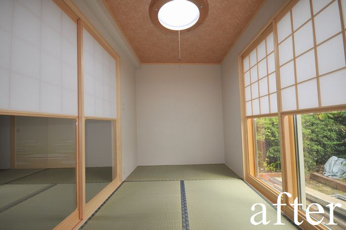 【増築後 和室】断熱性の高い高性能サッシを採用。内建具には雪見障子を取り付けました。
