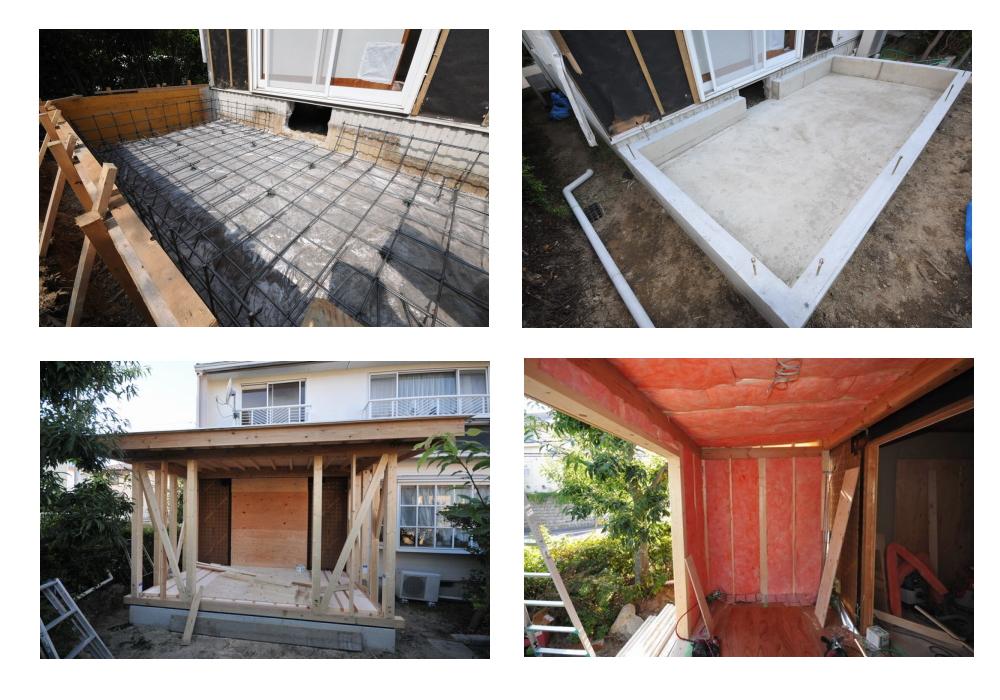 【増築工事中】床・壁・天井に高性能断熱材を充填しました