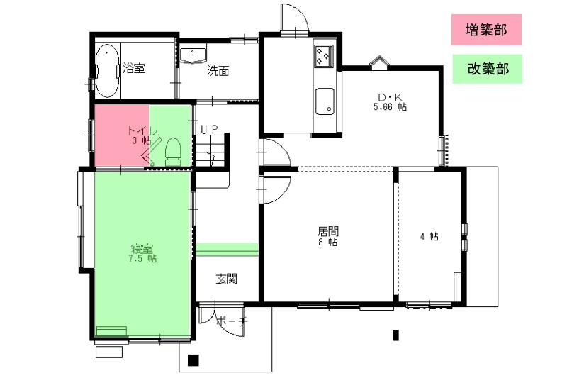 トイレを増築し3帖の広さにし、和室を洋室にし寝室からトイレにもいけるようにリフォームしました。